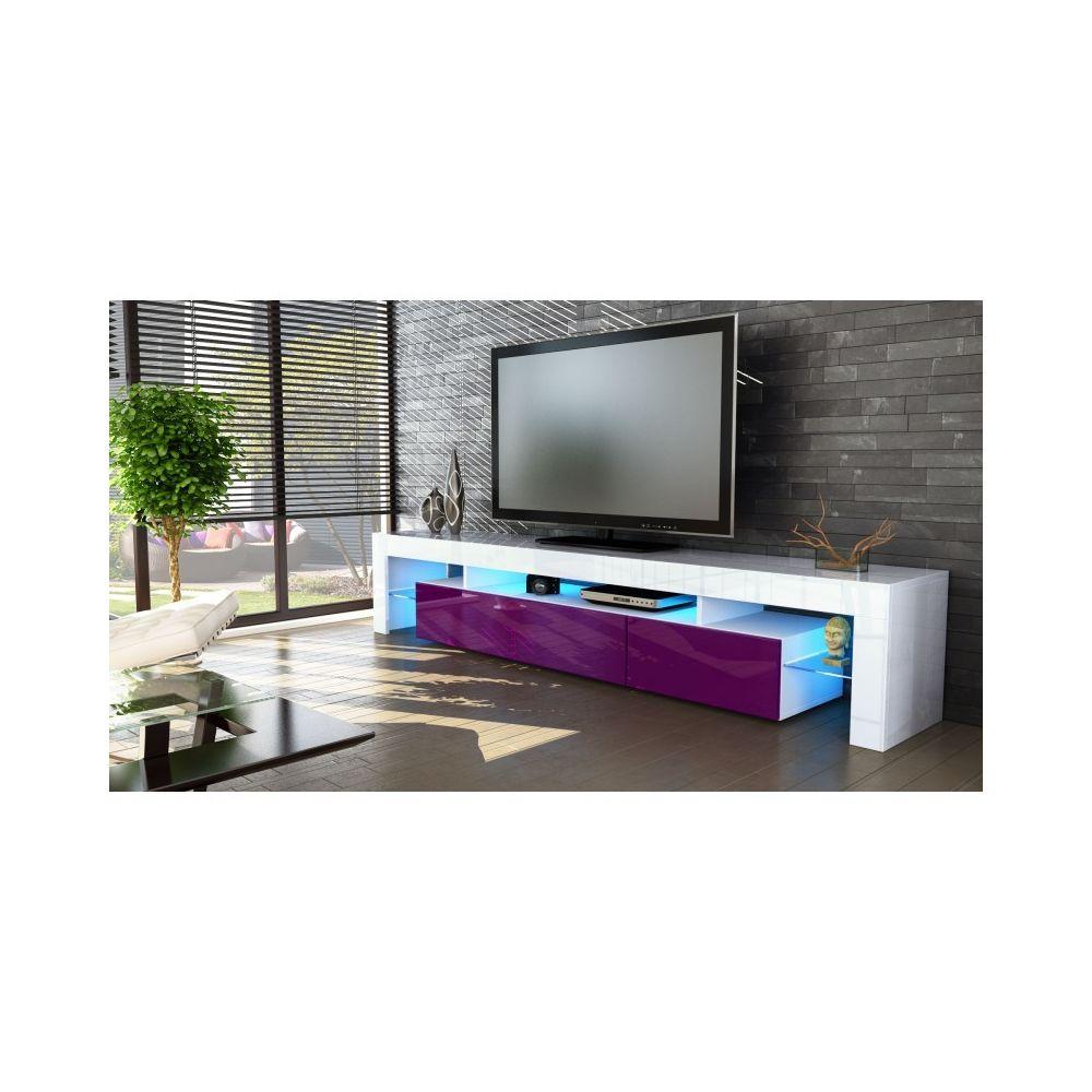 Mpc Meuble tv blanc et mûre 189 cm avec led