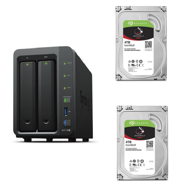 Synology - DS718+ - 2 baies +  2 IronWolf 4 To 3.5'' SATA III (6 Gb/s) Cache 64 Mo - NAS