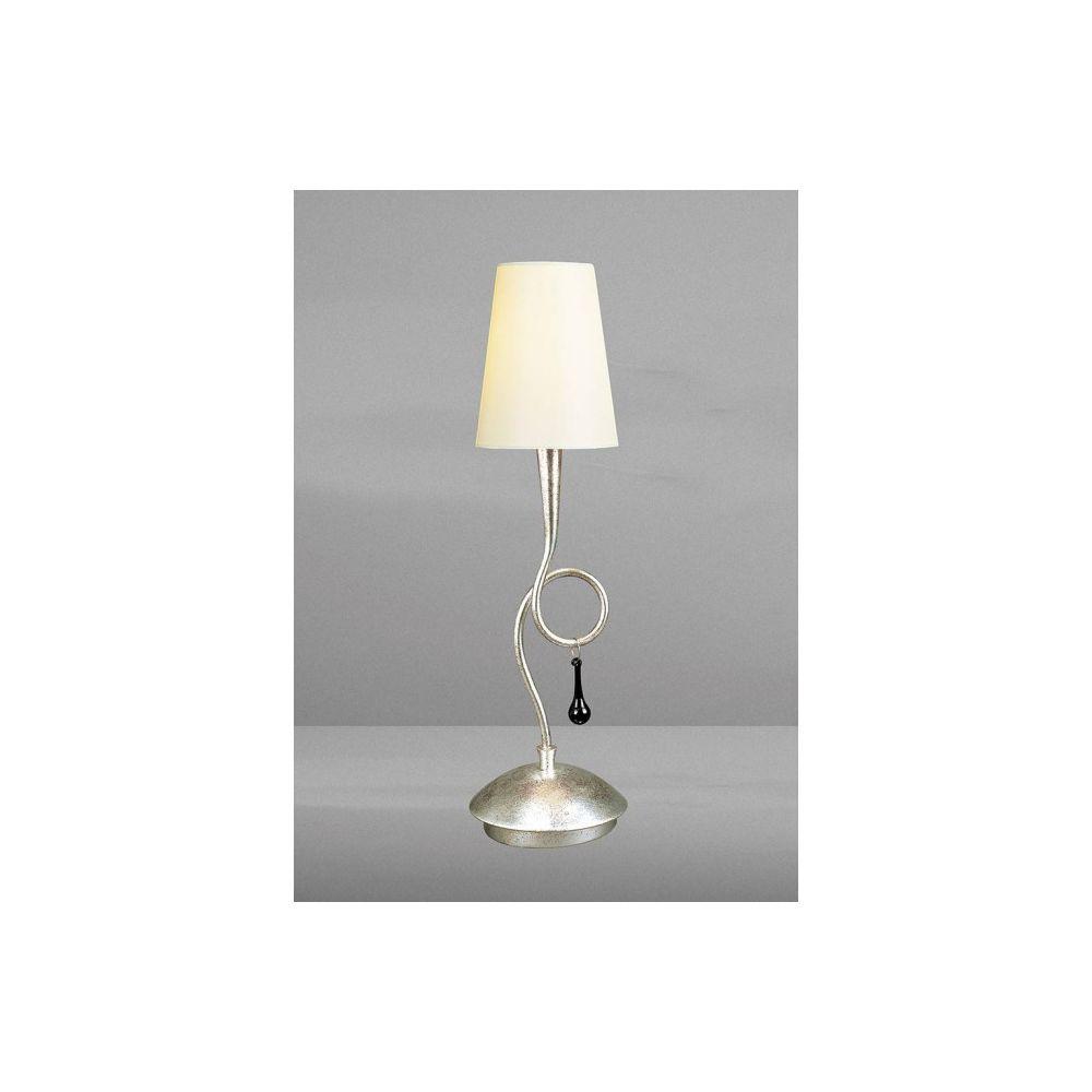 Luminaire Center Lampe de Table Paola 1 Ampoule E14, argent peint avec Abat jour crème & noir Gla
