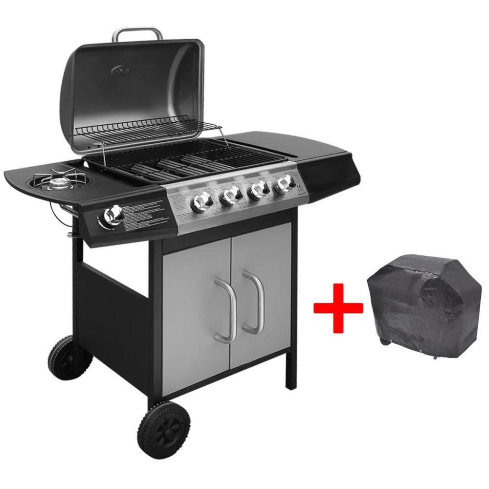 Vidaxl Barbecue gril à gaz 4 + 1 brûleurs Noir et argenté | Argent