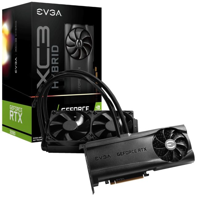 Evga - GeForce RTX 3090 XC3 ULTRA HYBRID - Hybrid Cooling - 24Go - Carte Graphique NVIDIA