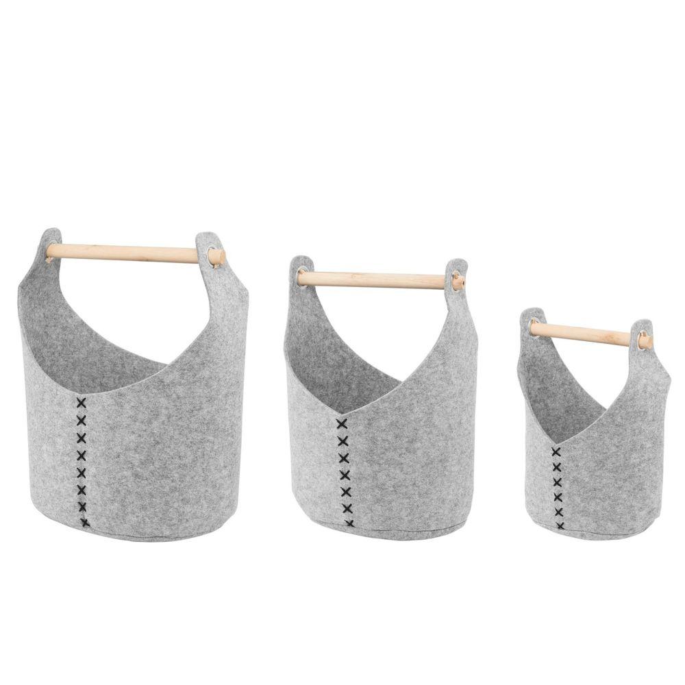 Beliani Lot de 3 corbeilles textilles grises clairs SALUR