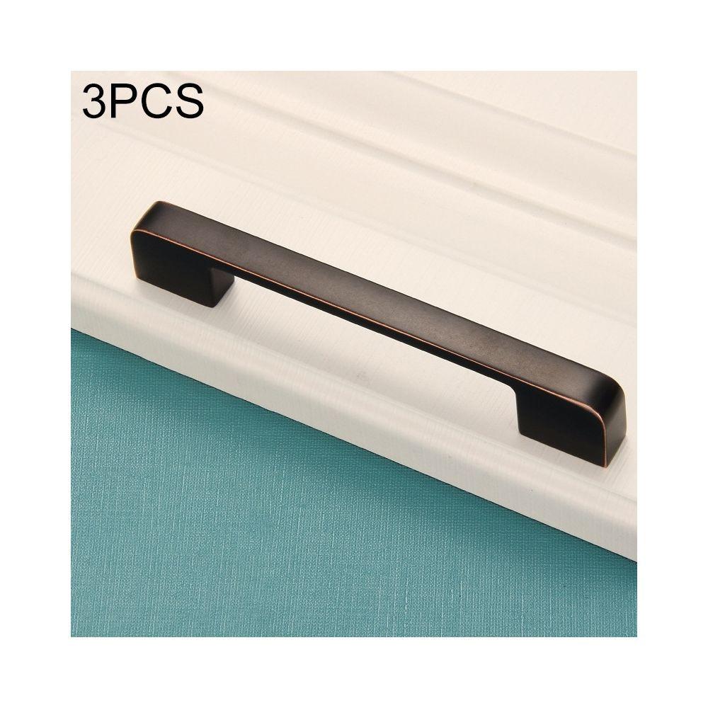 Wewoo Poignée d'armoire 3 PCS 6613-160 de porte simple tiroir en alliage de zinc noir rouge