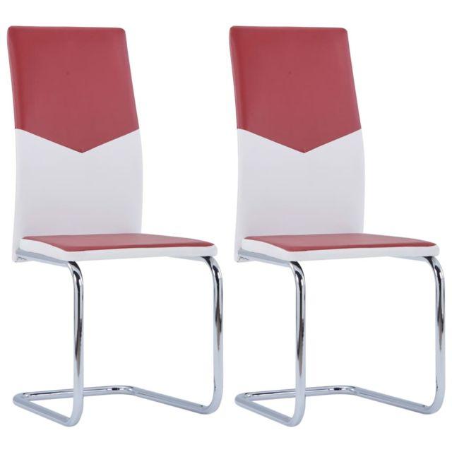 vidaxl 2x chaises de salle a manger rouge bordeaux similicuir diner cuisine