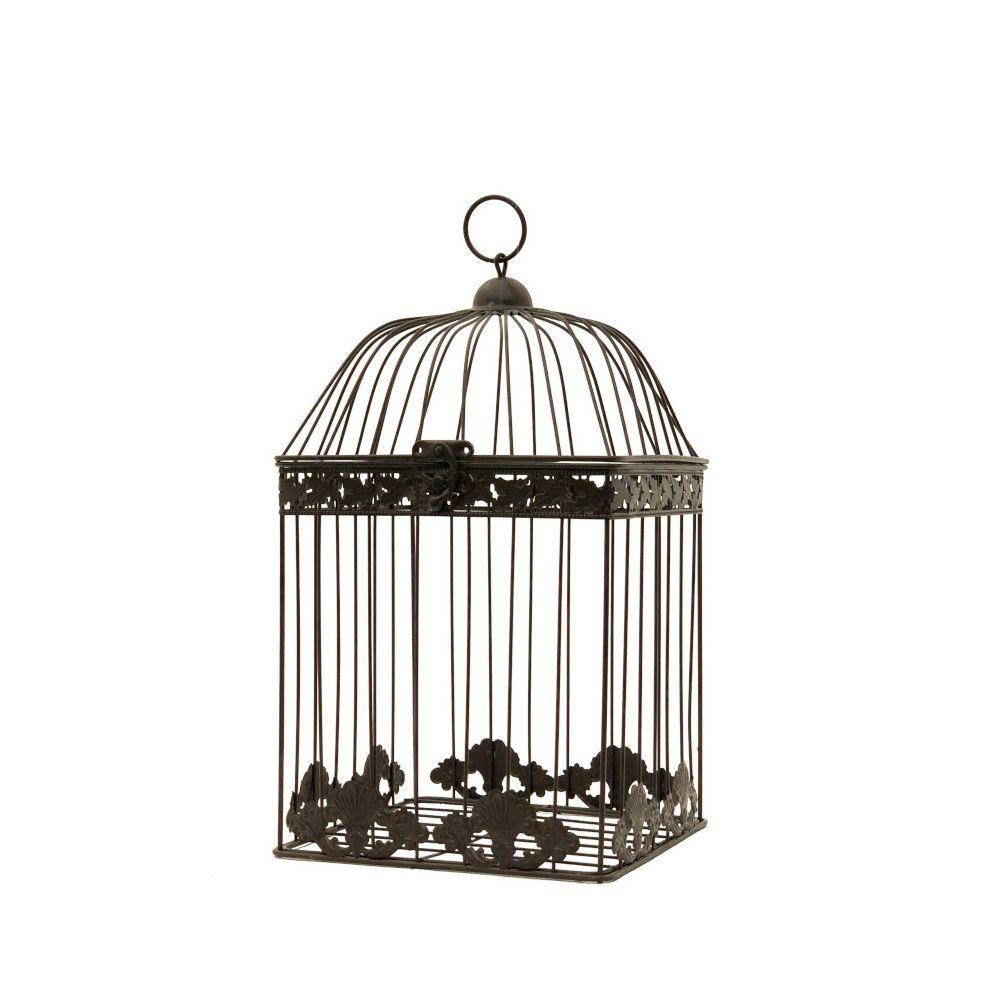 L'Originale Deco Cage Fer Décoration Carré Marron 43 cm x 23 cm x 23 cm