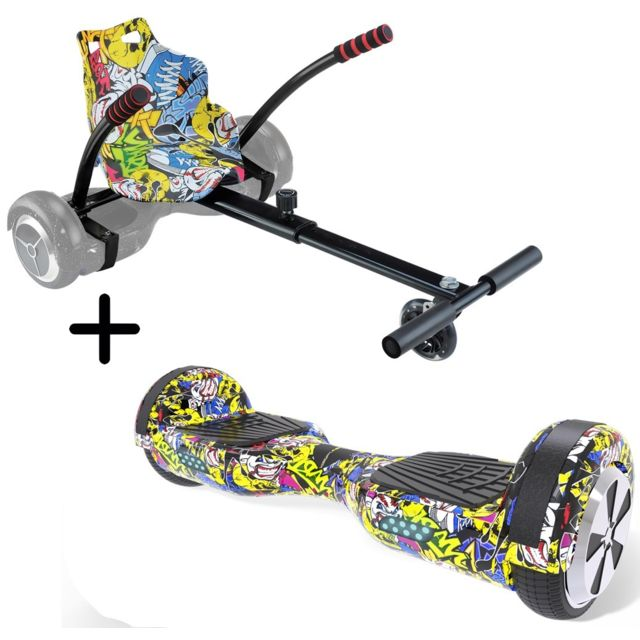"Urbanglide - URBANGLIDE Pack Hoverboard 65S + Kart pilot Roues 6,5"""" 550W 4Ah Longueur ajustable - Gyropode, Hoverboard"