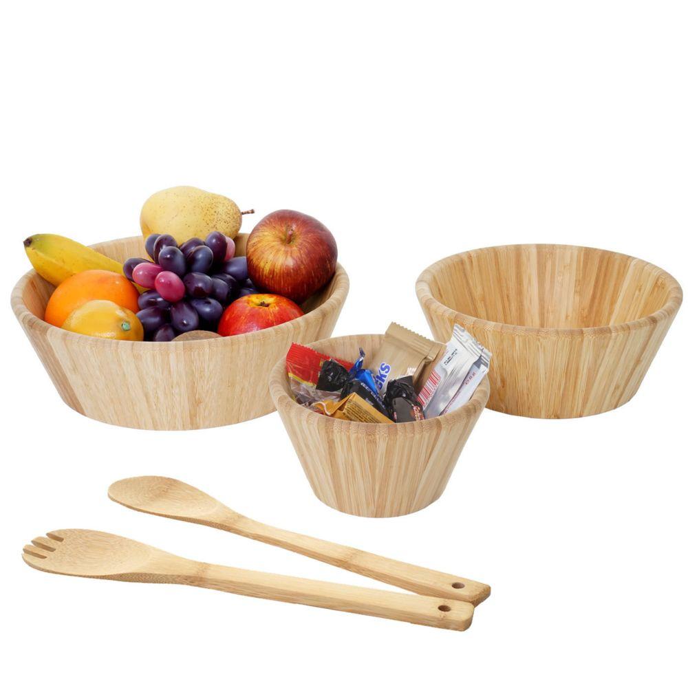 Mendler Set de 3 bols + couverts à salade HWC-B98, platées empilables, couverts à salade, cuisine, bambou