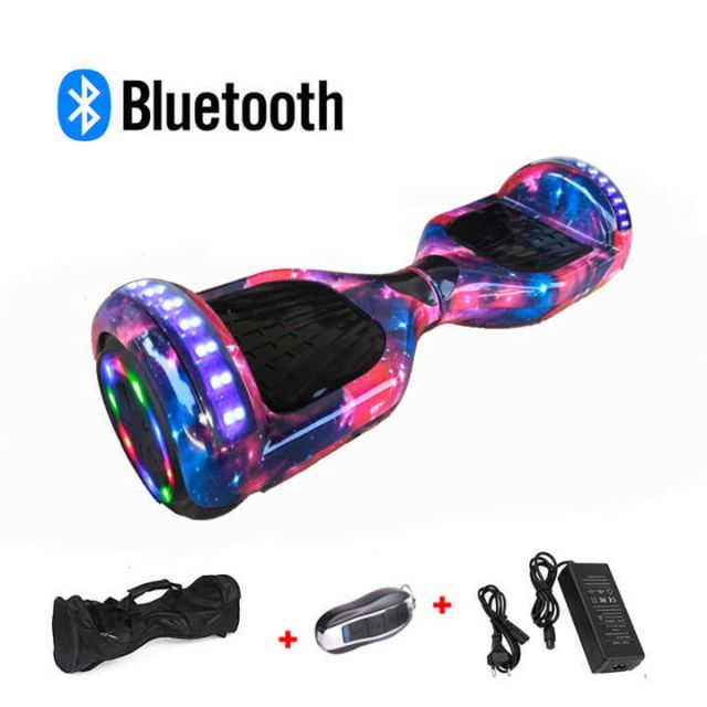 Mac Wheel - 6,5 pouces ciel rouge Hoverboard Gyropod Overboard Smart Scooter + Bluetooth + sac + clé à distance + roue LED - Gyropode, Hoverboard