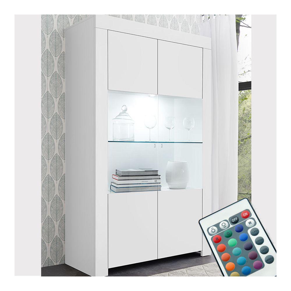 Kasalinea Vaisselier LED 110 cm blanc laqué design AGATHE