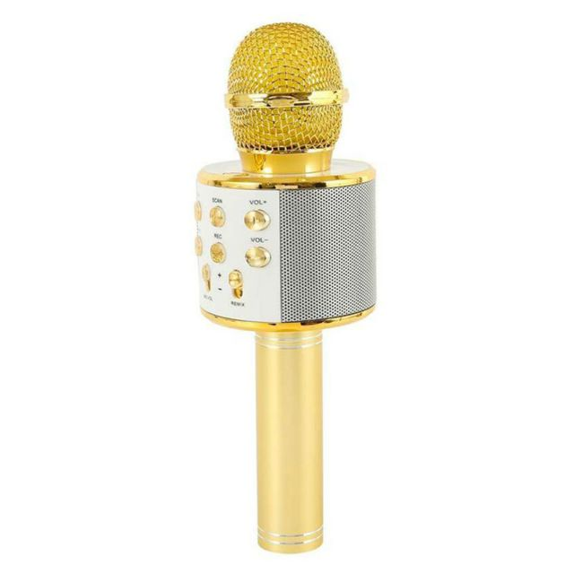 Microphone Shop Story Micro de karaoké sans fil avec Fonction bluetooth - Or