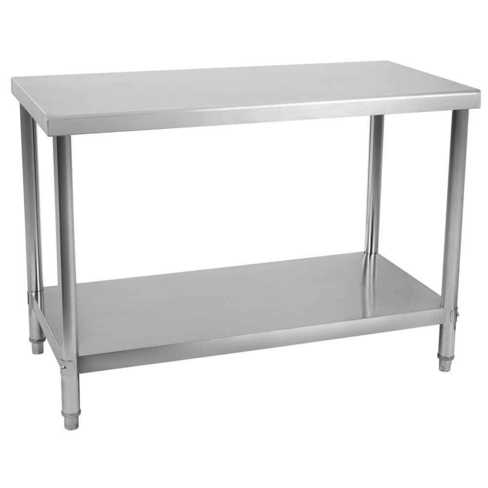 Helloshop26 Table de travail professionnelle acier inox pieds ajustable 100 x 70 cm 3614081