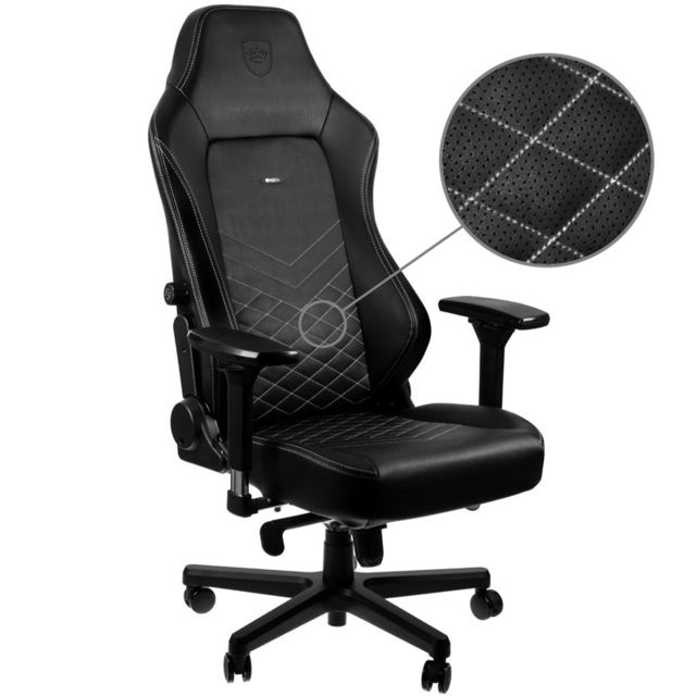 Noblechairs - HERO - Noir/Blanc Platine - Chaise gamer