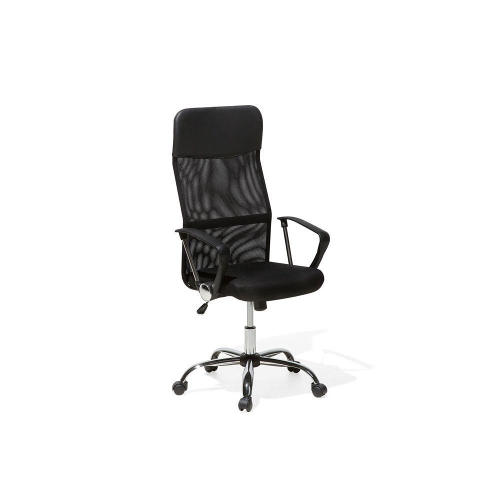 Beliani Beliani Chaise de bureau en cuir noir DESIGN - noir