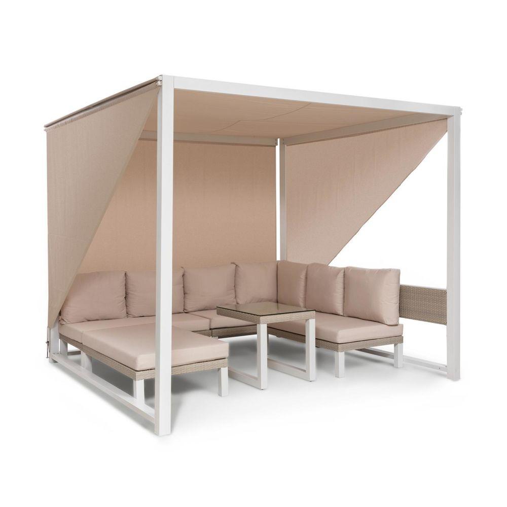 Blumfeldt Blumfeldt Havanna Combiné Pavillon de jardin 270 x 230 x 270cm & salon lounge pour 8 personnes - Polyrotin & polyester -
