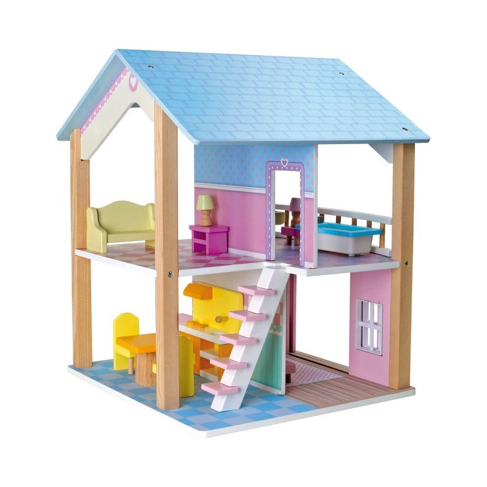 Small Foot Company Maison de poupée à 2 étages, tournante Toit bleu