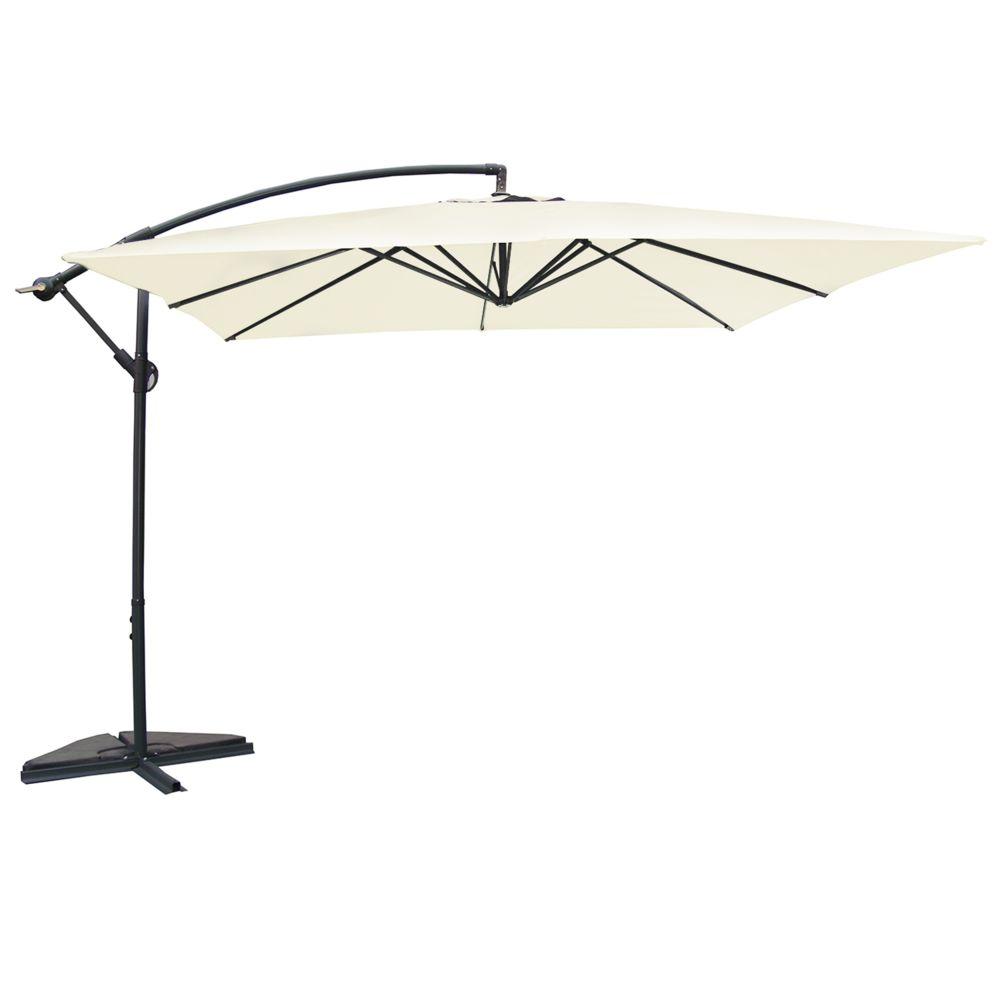 Concept Usine Solenzara écru: parasol déporté carré de 3 mètres sur 3