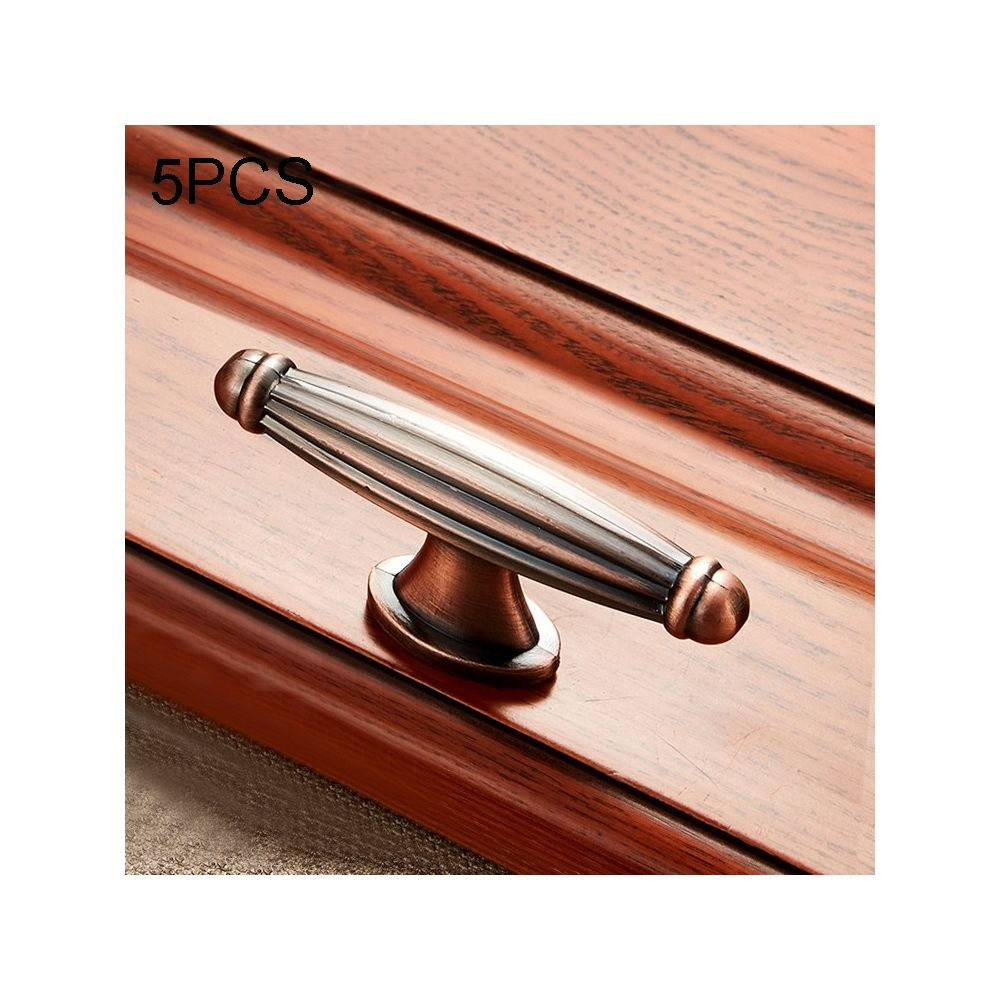 Wewoo Poignée d'armoire 5 PCS 6064 de meuble en bois massif Poignées bronze rouge
