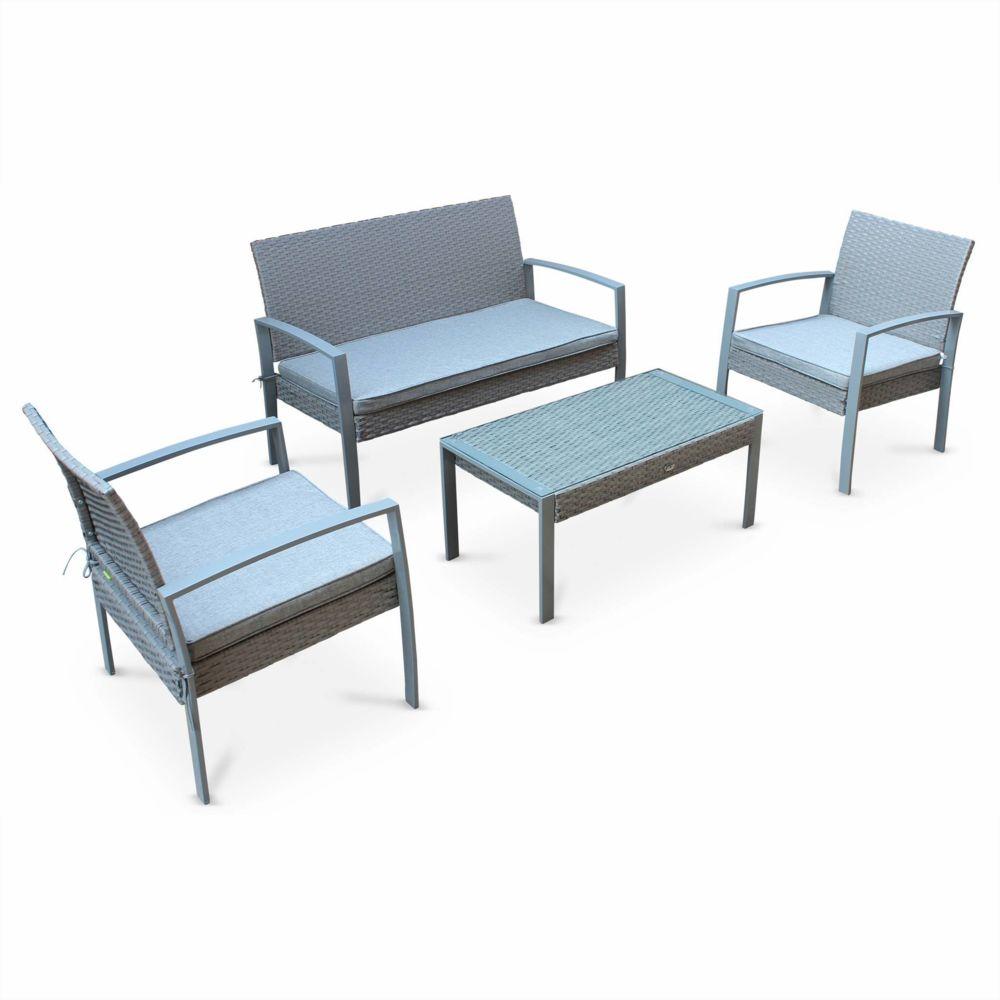 Alice'S Garden Salon de jardin en résine tressée - Vicenzo - Gris clair, Coussins gris - 4 places - 1 canapé, 2 fauteuils, une table ba