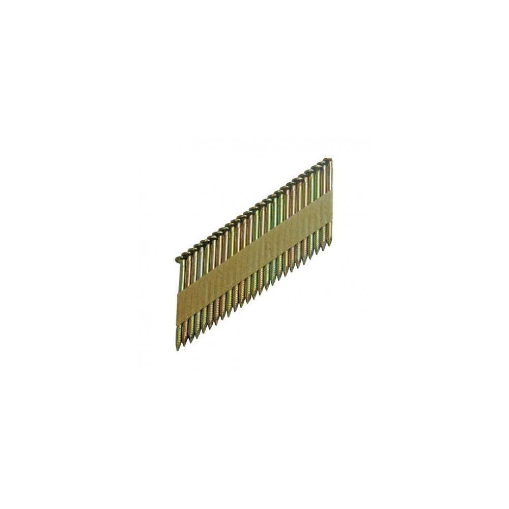 Fixman Pointes Clous acier en bande 34° FIXMAN annelées galvanisées sans gaz 2500 pièces - Taille - 90mm