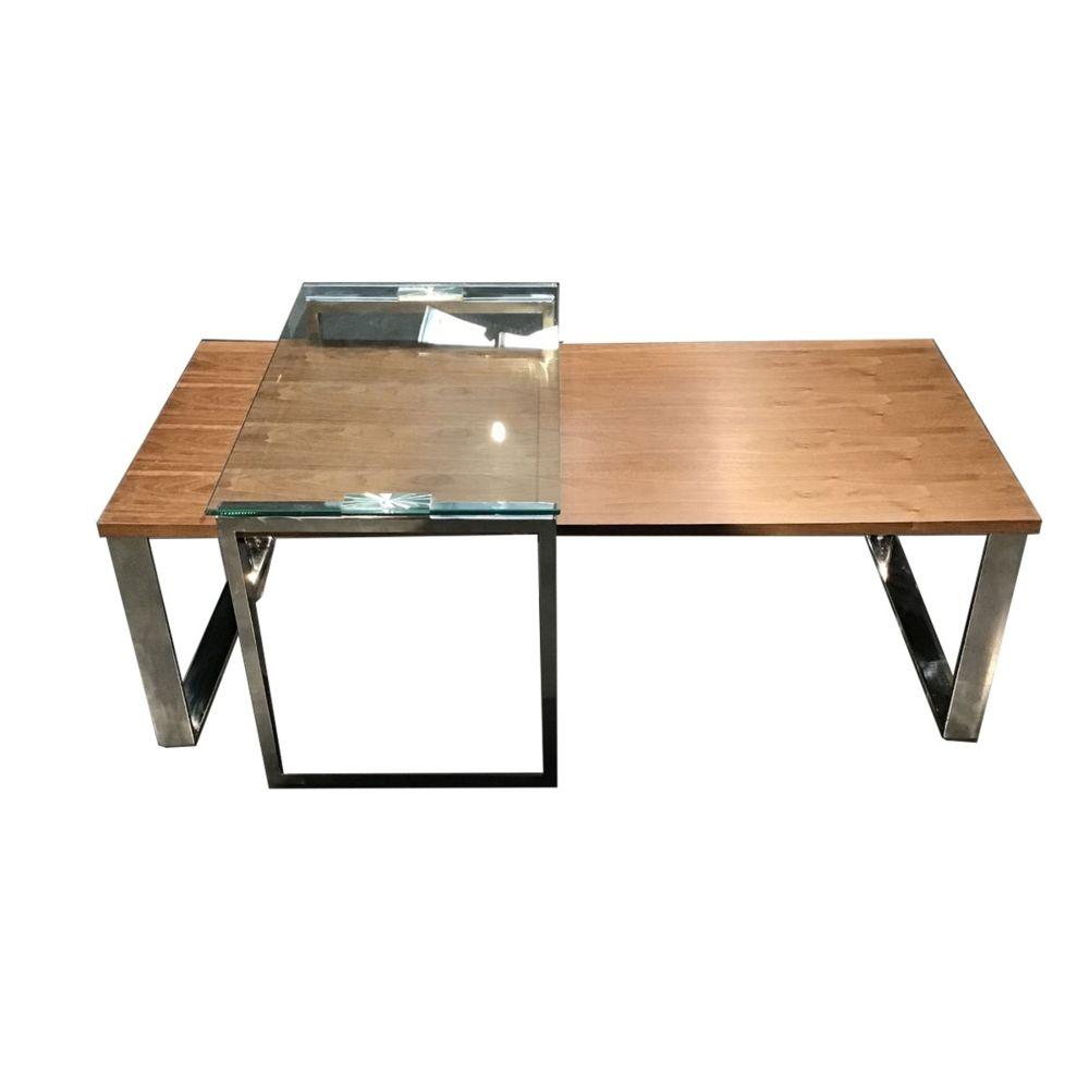 La Maison Du Canapé Table basse bois et verre KIM - Noyer/Transparent - Bois foncé