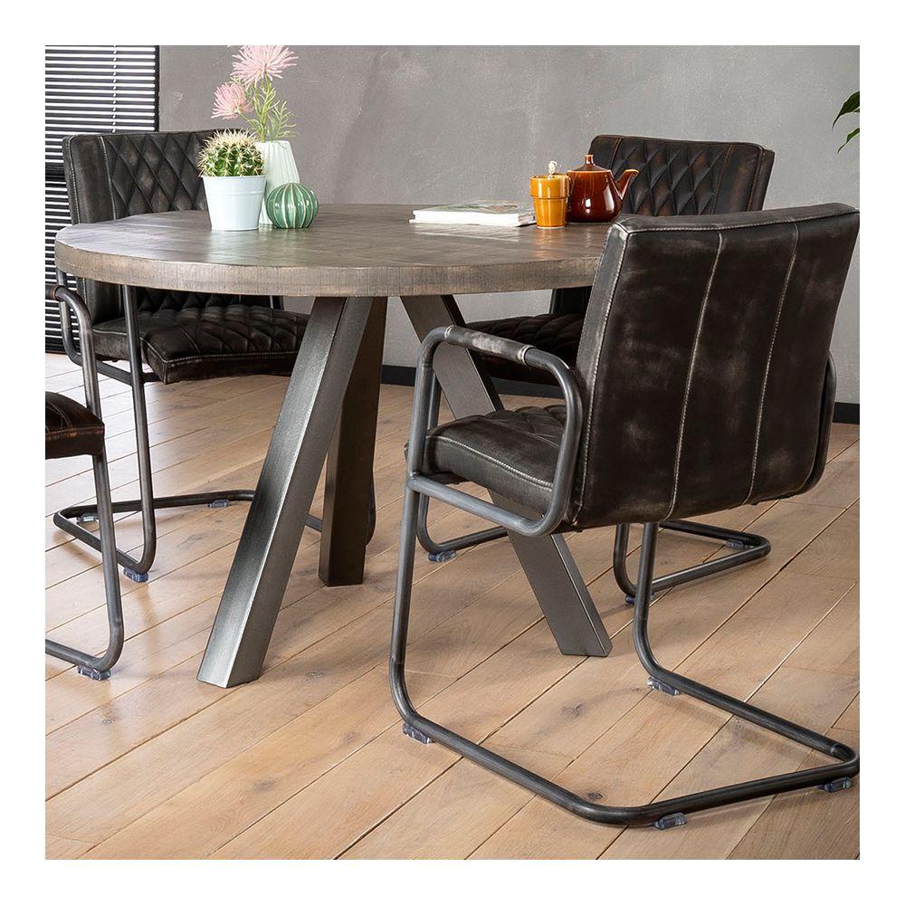 Nouvomeuble Table à manger ronde en bois massif et métal HILDA