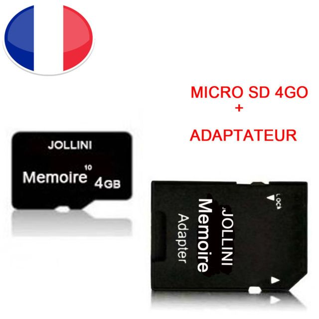 "Jollini - Pour Iphone OLED (6,1"""")  - Carte mémoire Micro SD 4 Go classe 10 classe 10 + adaptateur SD - Jollini® Universel Protection - Carte SD"