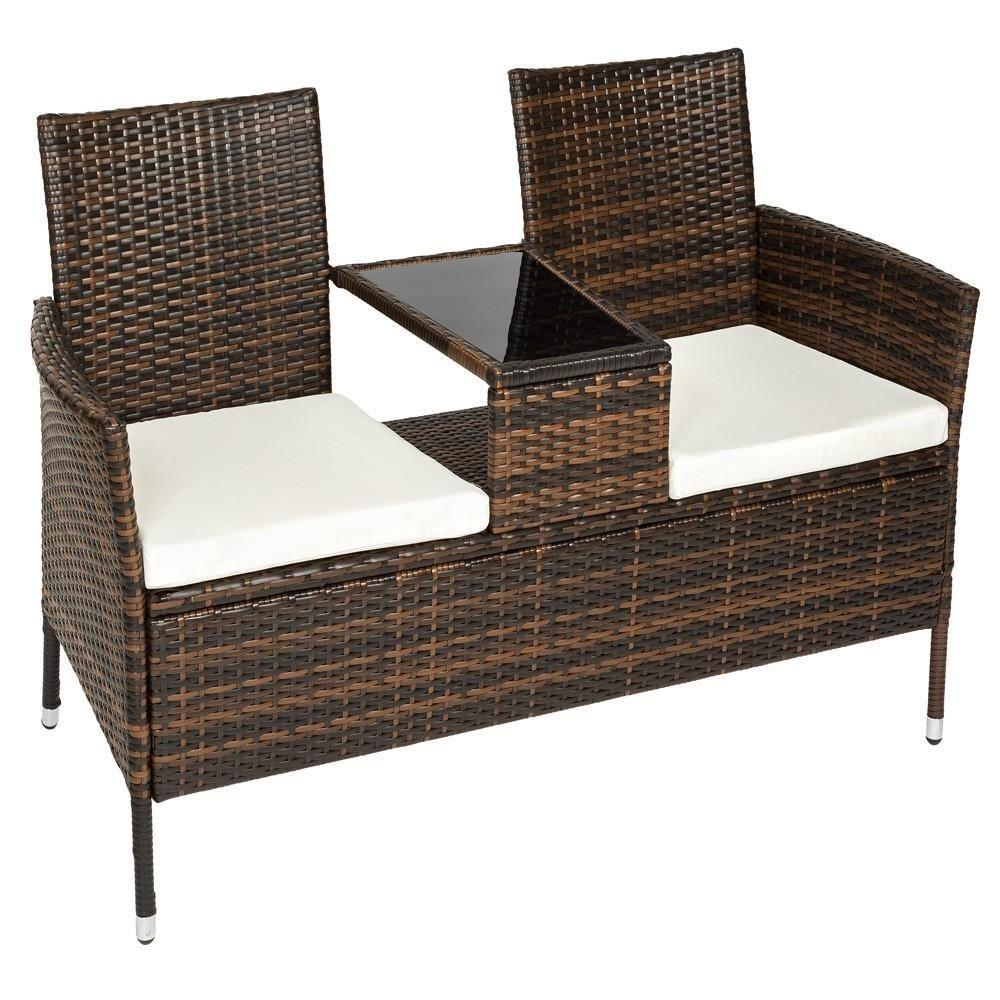 Helloshop26 Banc de jardin en résine tressé poly rotin + table + coussins brun 2108024