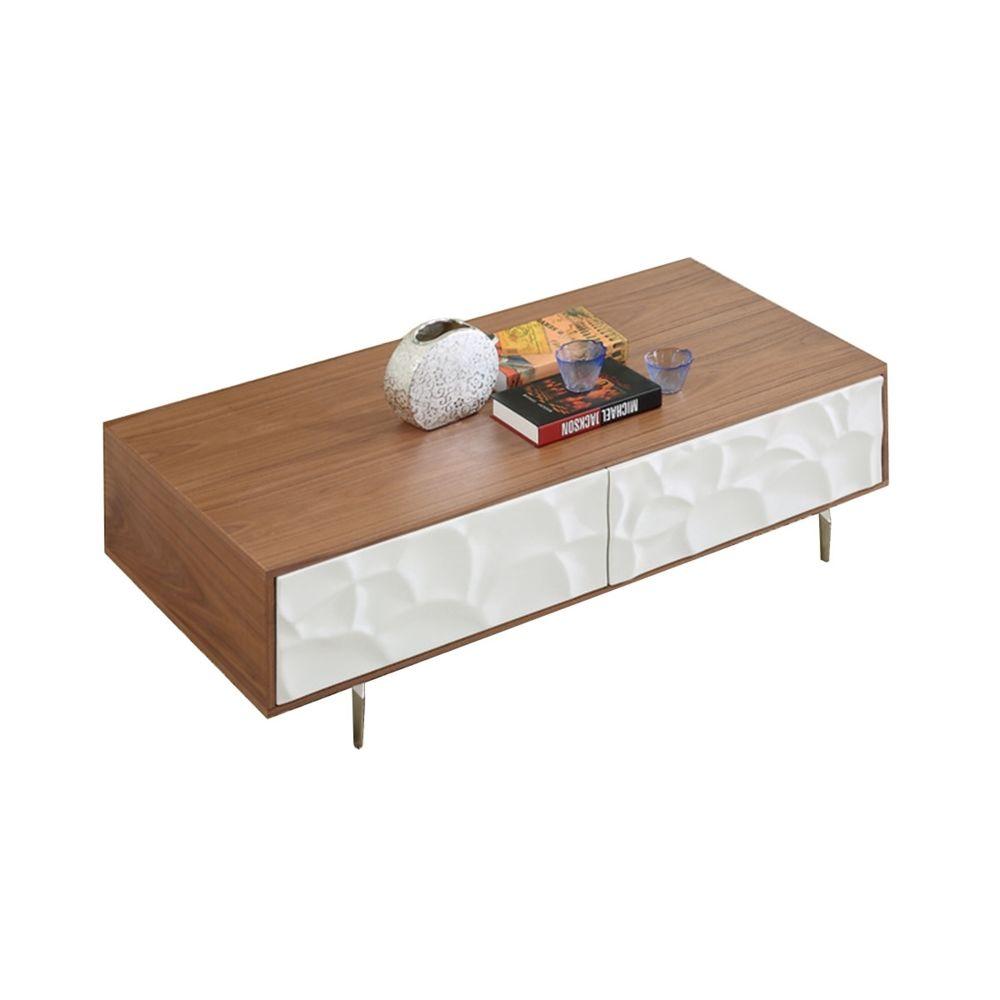 La Maison Du Canapé Table basse bois FLORA - Noyer - Blanc