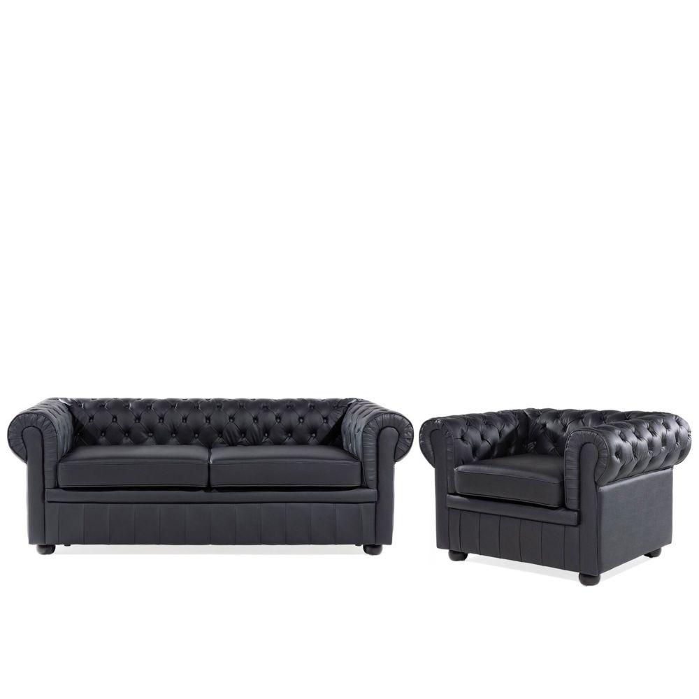 Beliani Beliani Ensemble canapé et fauteuil en cuir noir CHESTERFIELD - noir