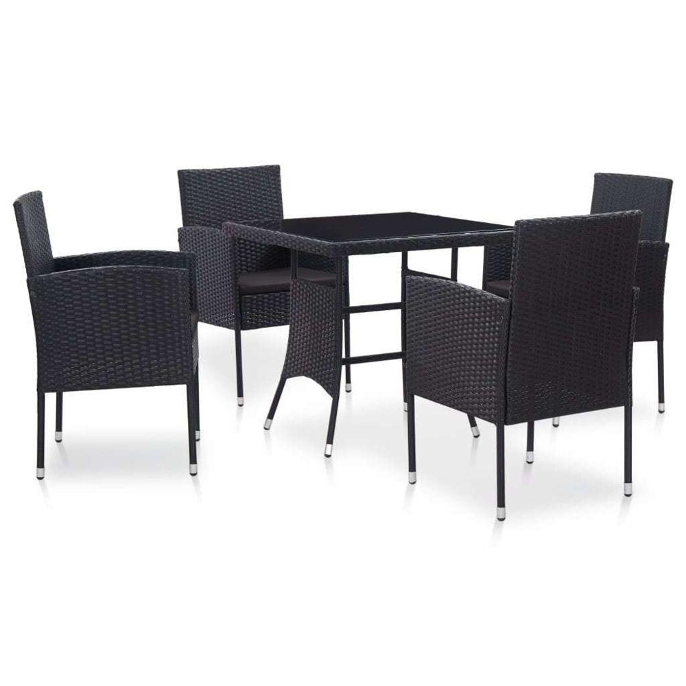 Vidaxl vidaXL Mobilier à dîner d'extérieur 5 pcs Résine tressée Noir