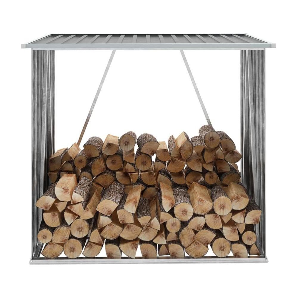 Vidaxl Abri de stockage de bois Acier galvanisé 163x83x154 cm Gris - Accessoires pour range-bûches et porte-bûches | Gris | Gri