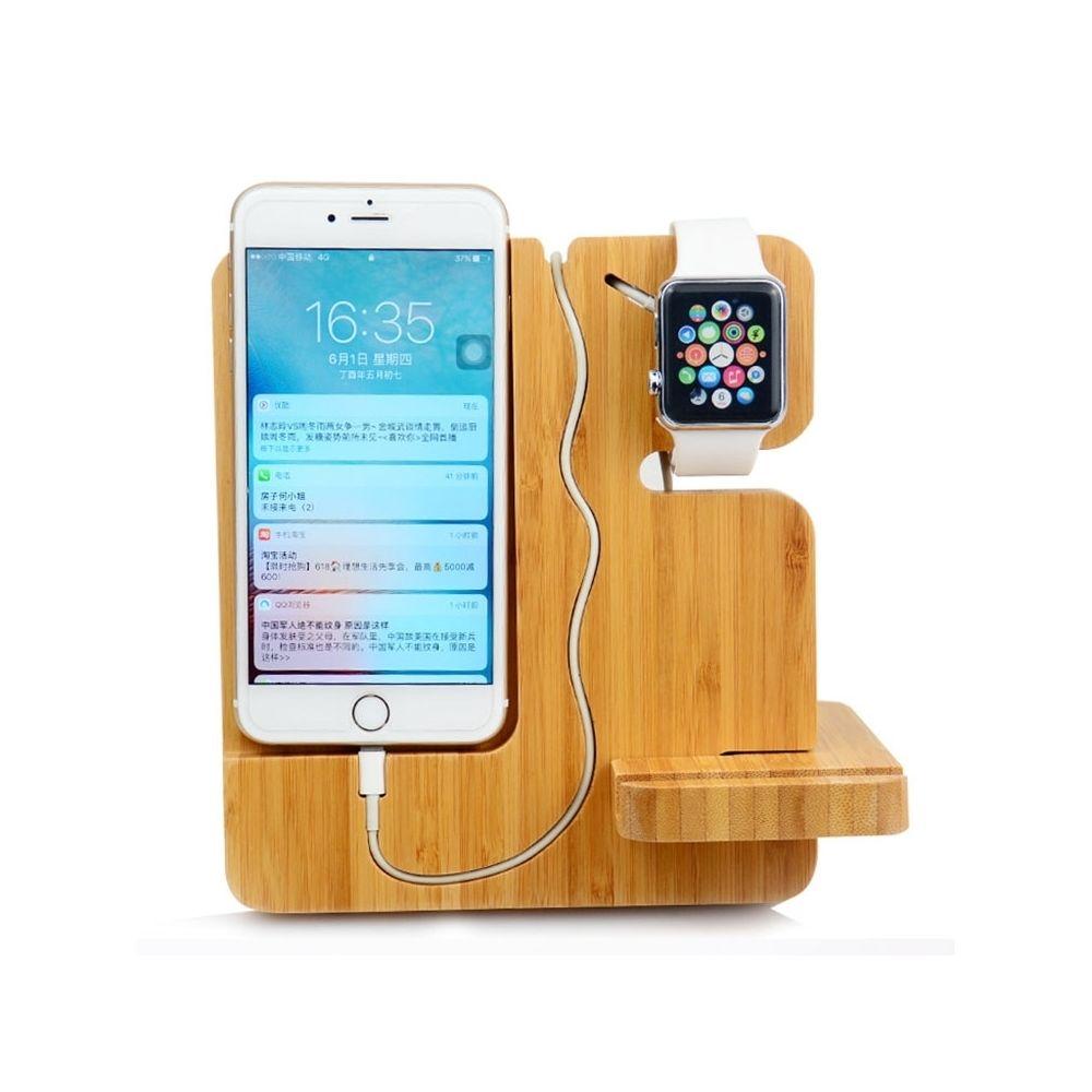 Wewoo Support en bois créatif multifonctionnel de téléphone portable pour les téléphones intelligents / Apple Watch