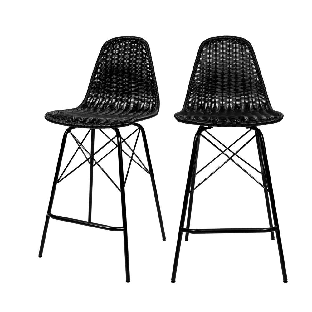 Rendez Vous Deco Chaise de bar mi-hauteur Tiptur en résine tressée noire 63 cm (lot de 2)