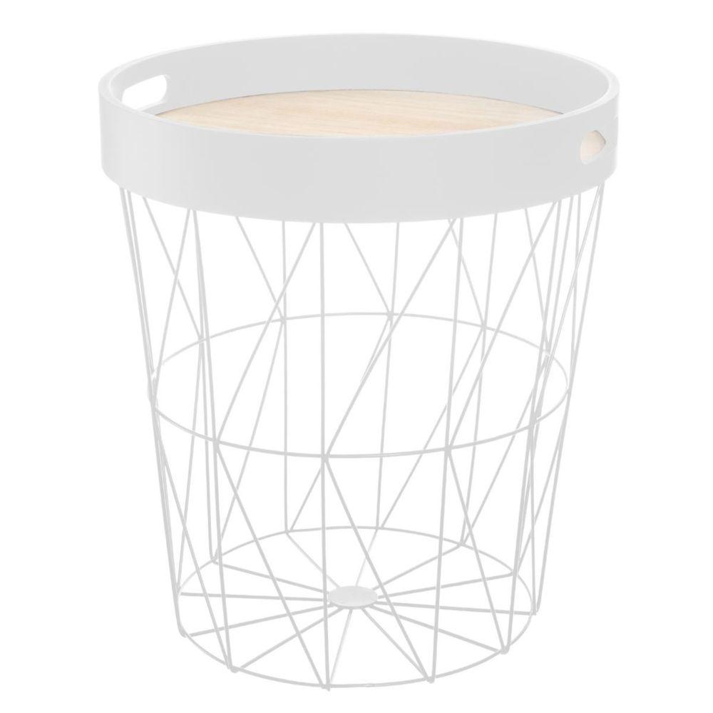 Pegane Table à café blanche en métal / plateau bois - D. 35 x H. 38 cm -PEGANE-