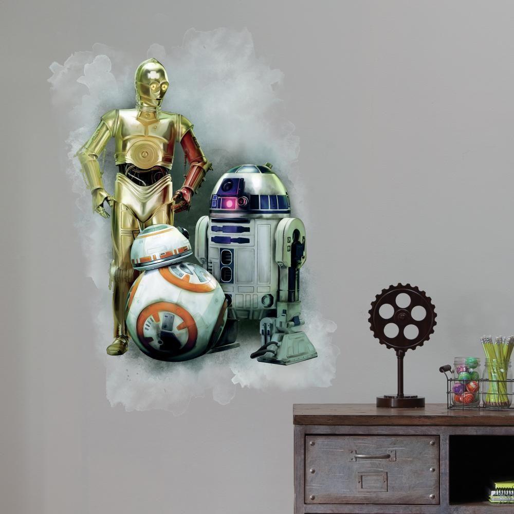 Mon Beau Tapis Stickers STAR WARS VII R2D2, CP30, BB-8 GRAPHIC Géant Roommates Repositionnables (97x63cm)