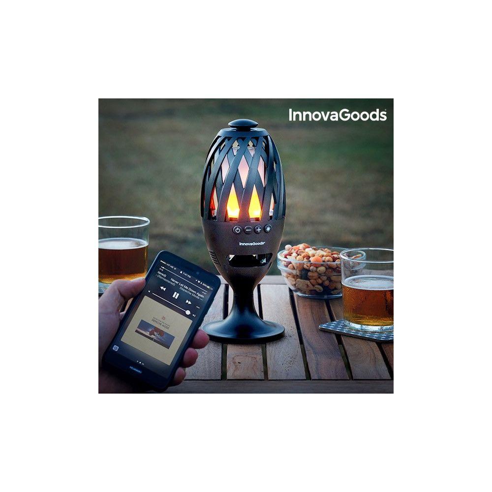 Totalcadeau Lampe LED interieur et exterieur avec haut-parleur bluetooth - Lampe effet de Flamme USB Rechargeable