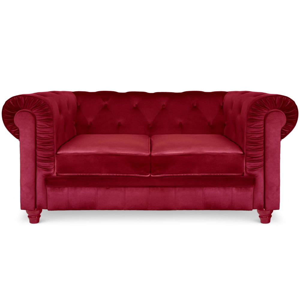 MENZZO Canapé 2 places Chesterfield Velours Rouge