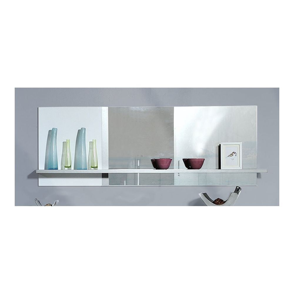Sofamobili Miroir mural blanc laqué et inox brossé avec étagère design DARLYNE