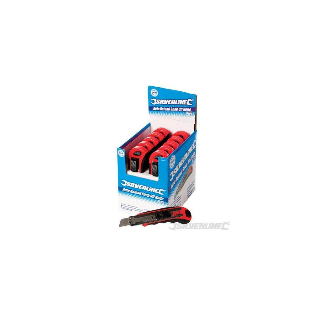 Silverline Boîte présentoir de 10 cutters à lame sécable auto-rechargeables 18 mm 10 pcs SILVERLINE 633575