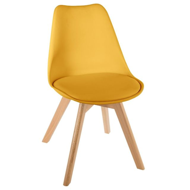 Atmosphera, Createur D'Interieur - Atmosphera - Chaise scandinave jaune baya - Chaises
