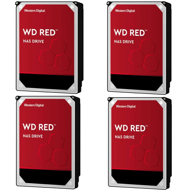 "Western Digital - Lot de 4 WD RED 4 To - 3,5"""" SATA III 6 Go/s - Cache 256 Mo - Rouge - Disque Dur interne"