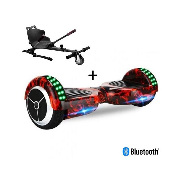 "Air Rise - Pack Hoverboard 6,5"""" LED Flamme+ Hoverkart Noir avec bluetooth sac et télécommande Air Rise   - Gyropode, Hoverboard"