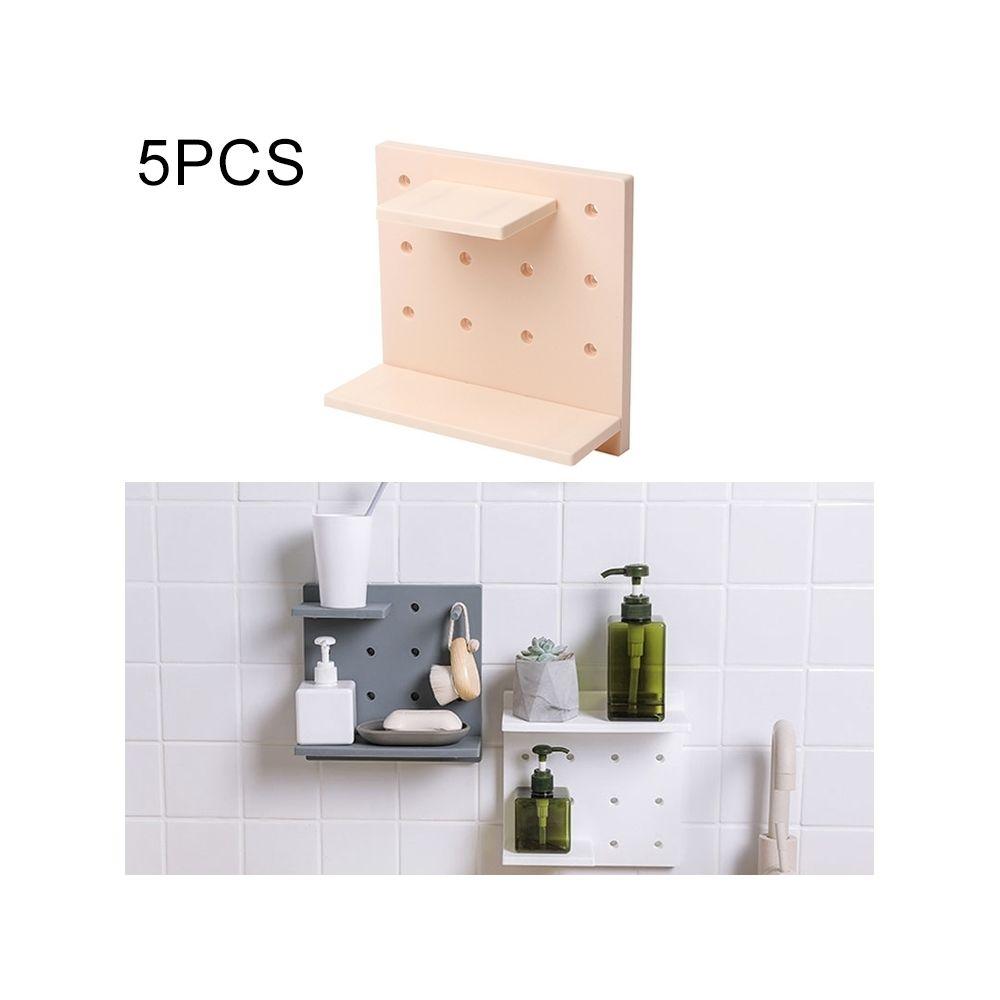 Wewoo 5 PCS Plastique Conseil Salon Salle De Bains Cuisine Mur Décoration Rangement Étagère Beige