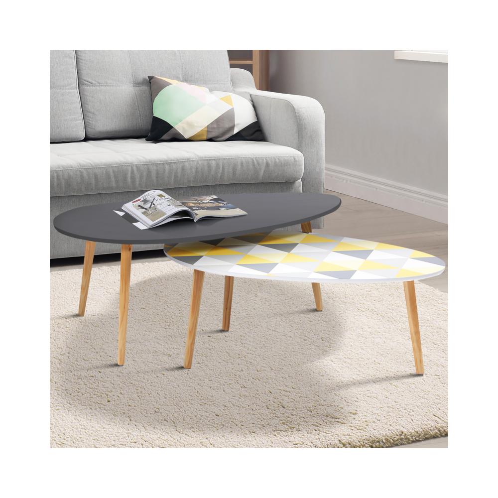 Idmarket Lot de 2 tables basses gigognes laquées gris motifs blanc jaune gris