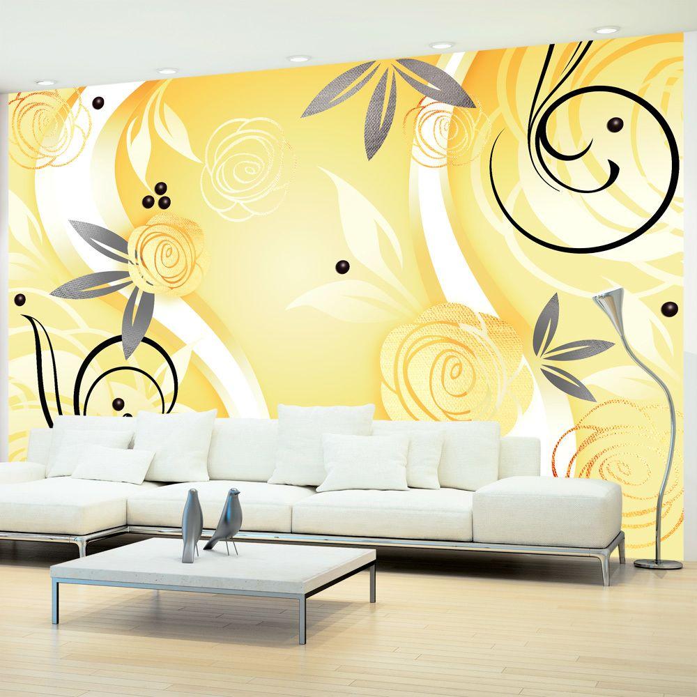 Bimago Papier peint   Yellow roses   300x210   Fonds et Dessins   Motifs floraux  