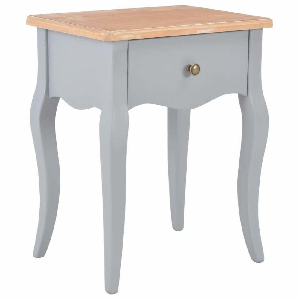 Helloshop26 Table de nuit chevet commode armoire meuble chambre gris et marron 40x30x50 cm bois de pin massif 1402101