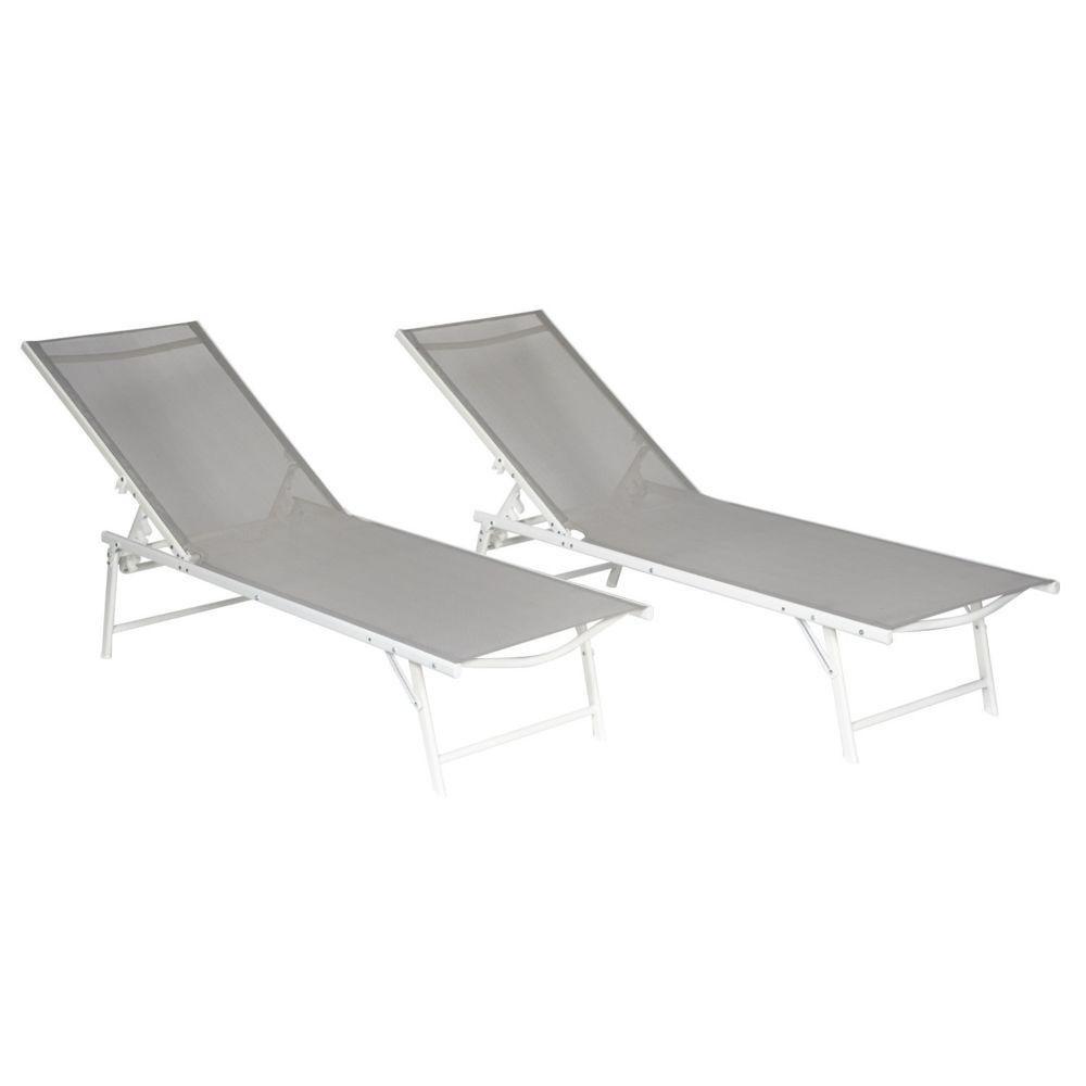 Happy Garden Lot de 2 bains de soleil pliants SICILIA en textilène gris - structure blanche