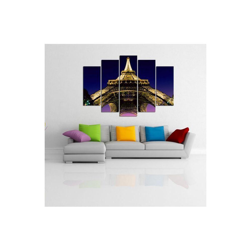 Homemania HOMEMANIA Set 5 Tableau Murale - Tour Eiffel Encadré d'en Bas - pour Séjour, Chambre - Multicolore en Coton, Bois, 100 x