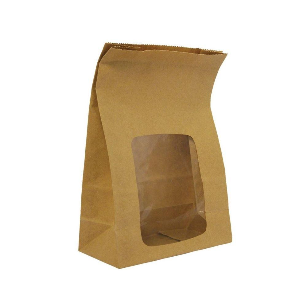 Materiel Chr Pro Emballage Alimentaire Professionnel Compostables en Kraft Doublés avec Fenêtre - Lot de 250 - NatureFlex Vegware - 0