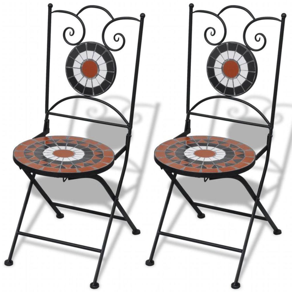 Vidaxl Jeu de 2 chaises mosaïques de bistro terre cuite / blanche   Multicolore